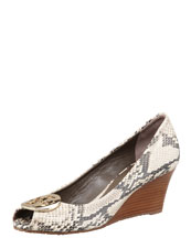 Tory Burch Sally2 Snake-Print Wedge, Natural