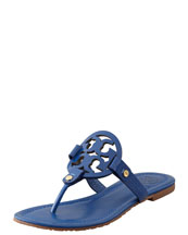 Tory Burch Miller Logo Flat Thong Sandal, Indian Ocean