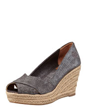 Tory Burch Filipa Wedge Espadrille, Pewter