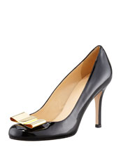 kate spade new york karolina metal bow pump, black