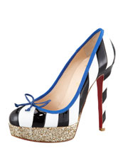 Christian Louboutin Foraine Glitter-Platform Striped Red Sole Pump