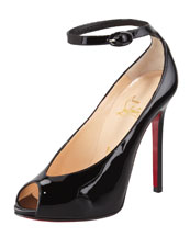 Christian Louboutin Rampoldi Ankle-Strap Red Sole Pump, Black