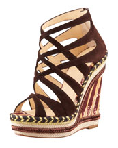 Christian Louboutin Tosca Crisscross Wedge Sandal, Chocolate