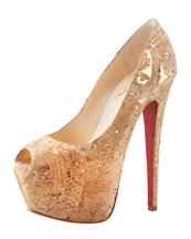 Christian Louboutin Highness Cork Peep-Toe Platform Red Sole Pump