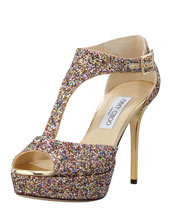 Jimmy Choo Tribe Glitter T-Strap Sandal, Golden Multi