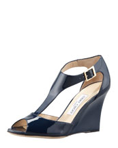 Jimmy Choo Token Patent T-Strap Wedge Sandal, Navy