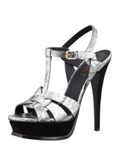 Saint Laurent Tribute Metallic Leather Suede-Heel Sandal