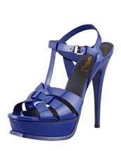 Saint Laurent Tribute Patent Leather Sandal, Blue