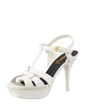 "Saint Laurent Tribute Leather Sandal, White, 4"" Heel"