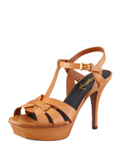 "Saint Laurent Tribute Leather Sandal, Brown, 4"" Heel"