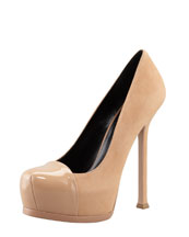Saint Laurent Tribute Two Patent-Cap Suede Pump, Brown