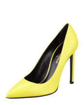 Saint Laurent Pointed-Toe Calfskin Pump, Citron