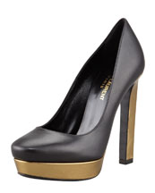 Saint Laurent Metallic Platform Pump, Black