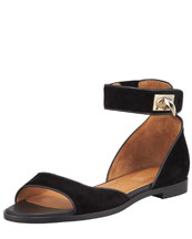 Givenchy Flat Ankle-Wrap Shark-Tooth Sandal