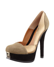 Fendi Fendista Colorblock Pump, Gray/Bronze