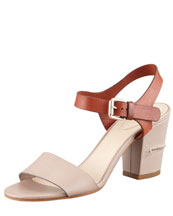 Chloe Two-Tone Open-Toe Sandal, Gray