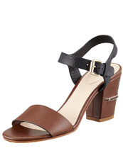 Chloe Two-Tone Open-Toe Sandal, Brown/Black