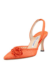 Manolo Blahnik Musaslifac Raffia Halter Pump, Orange