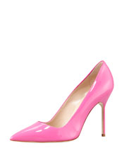 Manolo Blahnik BB Bright Patent Pointed Pump, Pink
