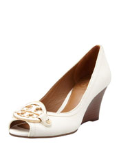 Tory Burch Amanda Open-Toe Wedge, Bleach