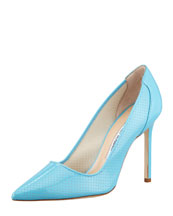Manolo Blahnik BB Perforated Patent Pump, Blue
