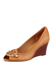 Tory Burch Amanda Open-Toe Logo Wedge
