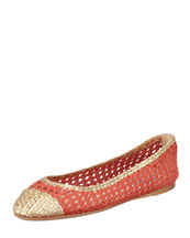 Prada Bicolor Woven Ballerina Flat, Strawberry/Gold