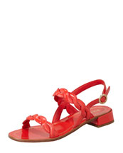 Prada Twisted Patent Leather Sandal, Red