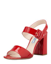 Prada Patent Open-Toe Buckle Sandal, Red