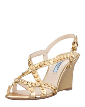 Prada Studded Open-Toe Strappy Wedge, Platinum