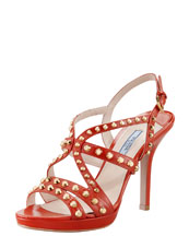 Prada Studded Slingback Sandal, Orange