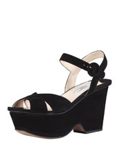 Prada Suede Crisscross Cutout Wedge Sandal, Black
