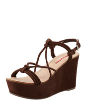 Prada Suede Strappy Knot Wedge Sandal, Brown