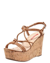 Prada Strappy Knot Cork Wedge Sandal, Cannella
