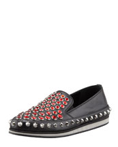 Prada Jewel-Stud Slip-On Sneaker, Black/Red