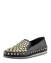 Prada Jewel-Stud Slip-On Sneaker, Black/Yellow