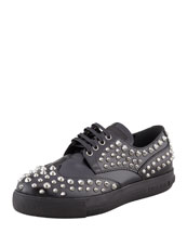 Prada Studded Lace-Up Sporty Oxford, Black