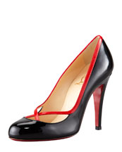 Christian Louboutin Cross Ronda Patent Pump, Black/Rouge