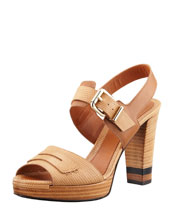 Fendi Penny-Strap Lizard-Embossed Leather Sandal, Beige