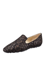 Jimmy Choo Wheel Leopard Loafer, Black