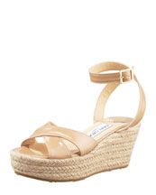 Jimmy Choo Pepper Patent Leather Espadrille Wedge Sandal, Nude