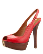Fendi Fendista Lizard-Embossed Slingback Sandal, Red