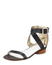Maison Martin Margiela Ankle-Cuff Flat Leather Sandal