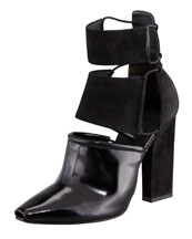 Alexander Wang Mackenzie Suede and Leather Cutout Bootie