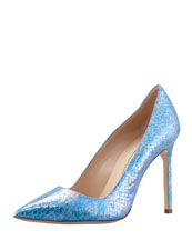 Manolo Blahnik BB Snakeskin Pump, Blue