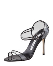 Manolo Blahnik Fersen See-Through Mary Jane Sandal, Black