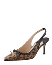 Manolo Blahnik Olaschi Lace and Cork Slingback Pump