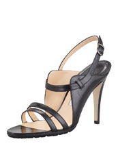 Manolo Blahnik Dodo Double-Band Patent Sandal, Black