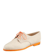 Manolo Blahnik Intha Linen Lace-Up Oxford, Natural/Orange