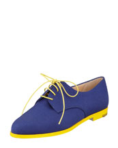Manolo Blahnik Intha Linen Lace-Up Oxford, Navy/Yellow